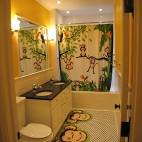 田园风格三室二厅创意儿童卫生间镜子干湿分区装修效果图