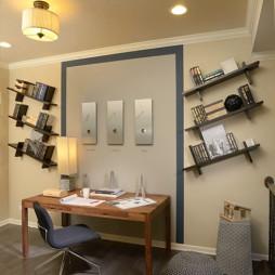 2017现代风格两室一厅小房间书房背景墙装修效果图
