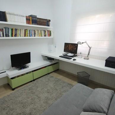 现代风格别墅温馨书房电视背景墙装修效果图