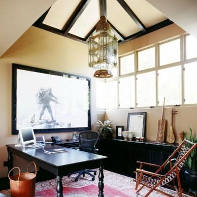 美式风格两室一厅个性阁楼小书房实木吊顶吊灯装修效果图
