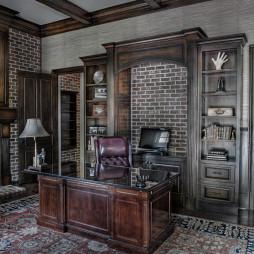 2017美式风格三室一厅豪华书房书柜装修效果图