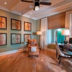 2017现代风格小户型豪华书房吊顶飘窗窗帘装修效果图