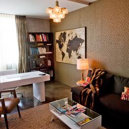 2017混搭风格三室一厅经典书房家具壁纸装修效果图