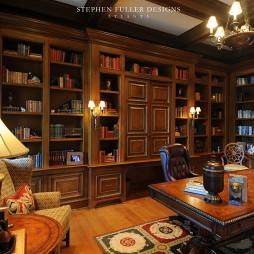 2017美式风格三室一厅最新书房吊顶书柜装修效果图