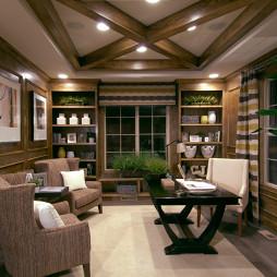 2017美式风格三室一厅豪华书房吊顶展示柜装修效果图