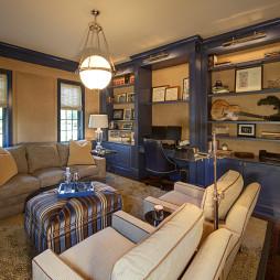 地中海风格三室一厅豪华书房书柜休闲沙发装修效果图