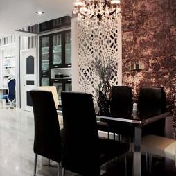 样板房美式餐厅镂空雕花墙壁装修效果图
