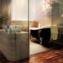 美式风格样板房创意家装有浴缸卫生间实木地板装修效果图