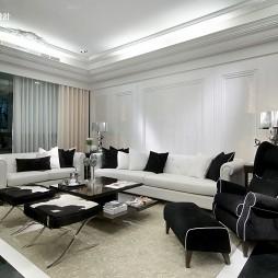 别墅简约欧式客厅沙发瓷砖背景墙及摆放家具黑白图