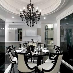 欧式别墅餐厅圆形吊顶设计装修效果图