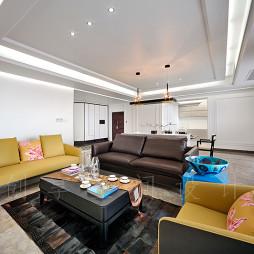 大户型家庭客厅不靠墙沙发白色背景墙装修效果图