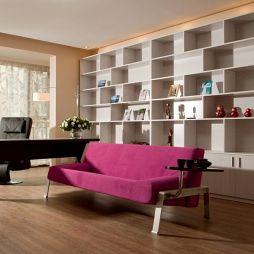 2017现代风格复式敞开式室内书房书架沙发椅子装修效果图