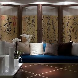 样板房欧式客厅沙发屏风背景墙装修效果图