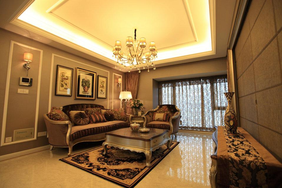 简欧风格墙纸效果图_简欧客厅沙发背景挂画装修效果图 – 设计本装修效果图