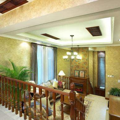 欧式别墅客厅壁纸背景墙装饰效果图