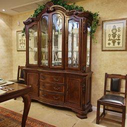 别墅经典美式餐厅背景墙酒柜挂画装修效果图