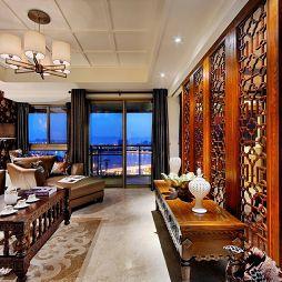 混搭中式客厅石膏线吊顶灯帘设计图片