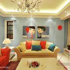 二居室超小客厅简装沙发无画框背景墙飘窗窗帘设计