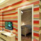 家装小型客厅电视柜壁纸影视墙与卧室隔断墙效果图