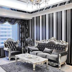 公寓样板房新古典客厅墙贴壁纸效果图