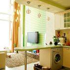 17平米厨房客厅拼花地板砖吧台隔断设计