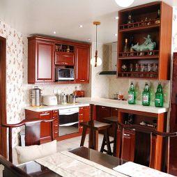 新古典厨房餐厅吧台墙面酒柜装修效果图
