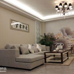 家装三居室简中式客厅沙发镂空隔断壁画背景墙装修效果图