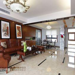 120平米中式客厅真皮沙发摆放设计效果图