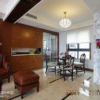 三居室新中式客厅过道实木壁柜连厨房装修效果图