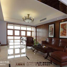 120平米新中式客厅吊顶灯阳台设计效果图