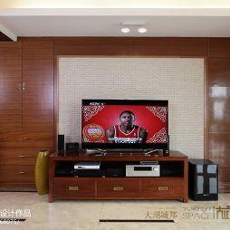 家装三居室客厅实木电视柜壁柜装修效果图