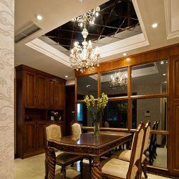 中海翠屏湾美式餐厅靠墙储物柜镜子吊顶背景墙装修效果图