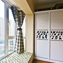 田园窗台飘窗窗帘装修效果图