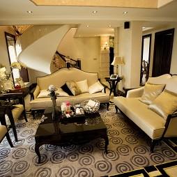 乐清天豪公寓复式楼楼梯客厅真皮沙发摆放设计效果图