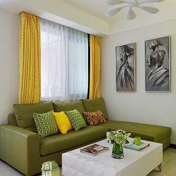 现代风二居室客厅不吊顶沙发窗帘挂画背景墙效果图
