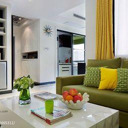 现代风80平米白色调客厅壁柜过道吊顶设计图片
