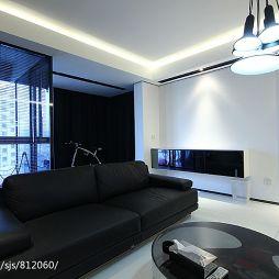 三居室时尚现代客厅真皮沙发装修效果图