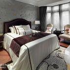 中洲中央公园英式别墅主卧室窗帘装修效果图