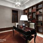 1313软装配饰设计中洲中央公园英式别墅书房书柜装修效果图