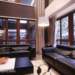 别墅设计新中式客厅真皮沙发效果图