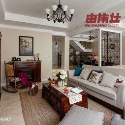 美式风格别墅家居复式楼梯客厅不靠墙沙发效果图