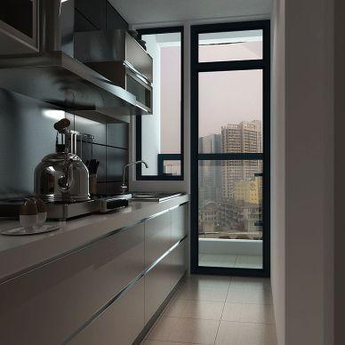 现代一字型厨房玻璃隔断装修设计效果图