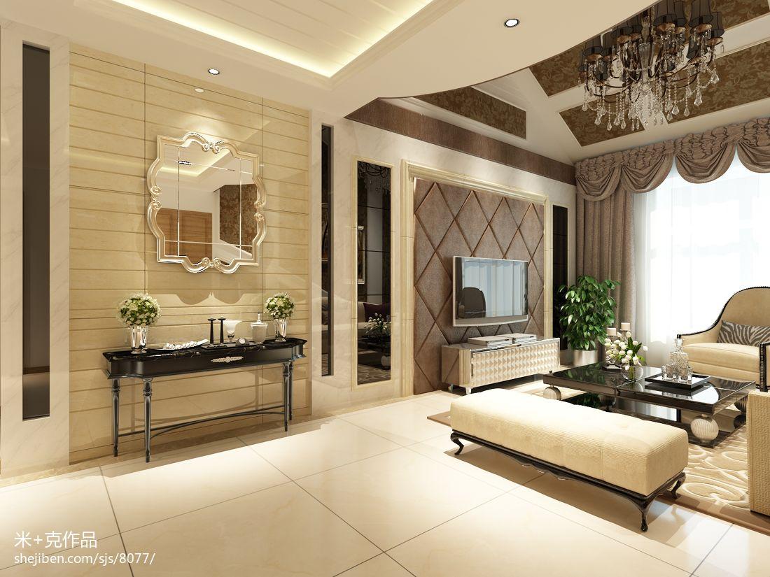 欧式新古典风格家具_现代欧式客厅玻璃软包电视墙装修效果图 – 设计本装修效果图