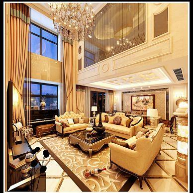 欧式别墅复式楼挑空客厅家装设计