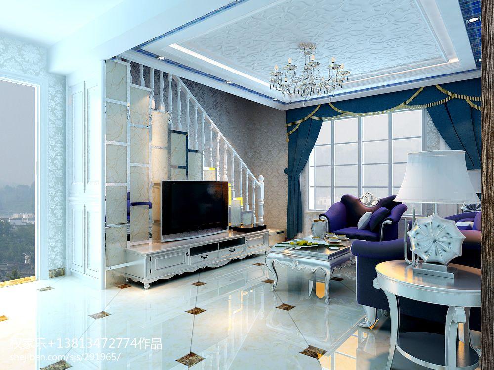 现代简约电视墙墙纸_绿地商务城欧式小客厅楼梯电视背景墙装修效果图 – 设计本装修 ...