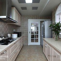 美式风格厨房地板砖装修设计效果图