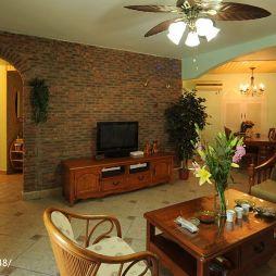 美式田园风格客厅仿古砖电视背景墙垭口设计图