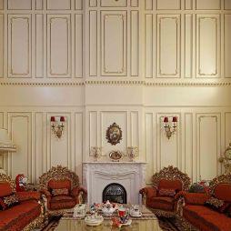 虹景别墅高客厅壁炉石膏线描金背景墙室内设计图