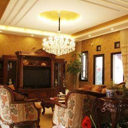 中式别墅客厅三级吊顶灯设计图