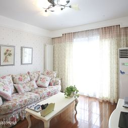 田园风格小客厅窗帘效果图